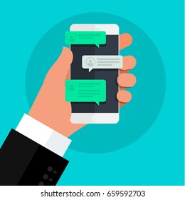 Concept of online conversation with texting message. Chatting on phone. Flat design, vector illustration.