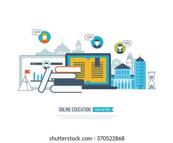 Concept of online education, online training courses, university, tutorials. School and university building icon. Investment in education. Strategy of successful learning. Urban landscape.