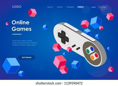 Concept of online games. Isometric joystick.Landing page. Web Element