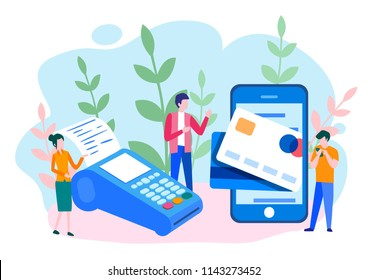 Concept Online and mobile payments for web page, social media, documents, cards, posters. Vector illustration pos terminal confirms the payment using a smartphone, Mobile payment, online banking.