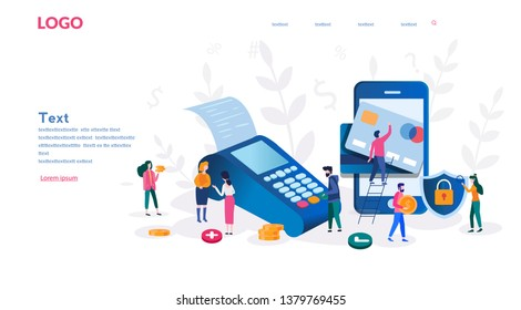 Concept Online and mobile payments for web page, social media, documents, cards, posters. Vector illustration pos terminal confirms the payment using a smartphone, Mobile payment, online banking. \n