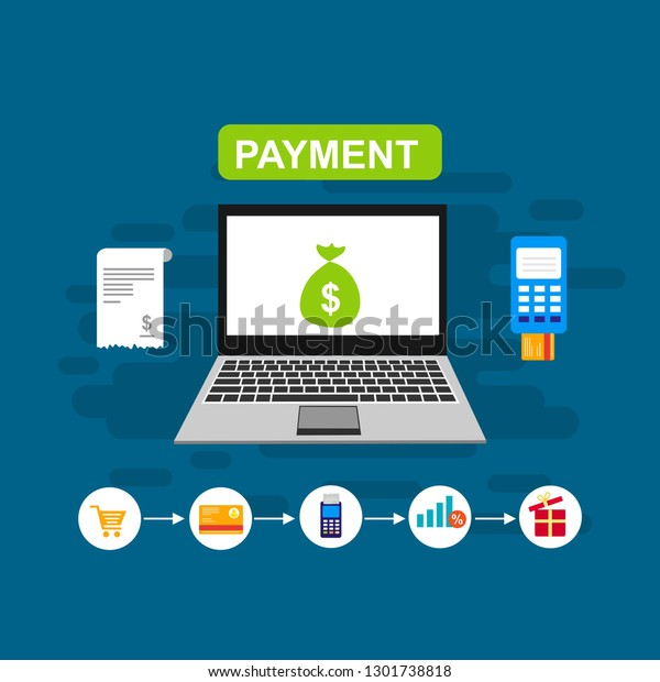 Concept Online Mobile Payments Web Page Stock Vector