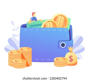Concept online money , mobile payments for web page, banner, presentation, social media, documents, cards, posters. Vector illustration mobile banking,e payment, cash back,  cryptocurrency, wallet