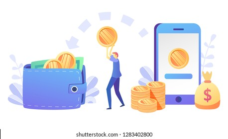 Concept online money transfer, mobile payments for web page, banner, presentation, social media, documents, cards, posters. Vector illustration mobile banking,e payment, cash back,  cryptocurrency