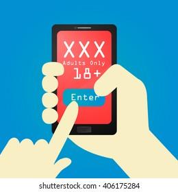 Concept of online porno. Hand holding smartphone. Flat design, vector illustration.