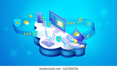 The concept of online security of personal data. Isometric projection of vector illustration online security of personal data and confidential user information. Modern technology personal data storage