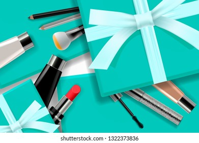 Concept online shopping cosmetics, gift boxes background top view. Sale Ads, magazine or catalog template design on commercial background, vector illustration.