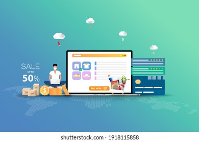 Concept of online shopping, man wear a face mask and sit on top of coinstack near a big screen of laptop that contain list of products, credit card, customer rating and reviews to order a new pant.