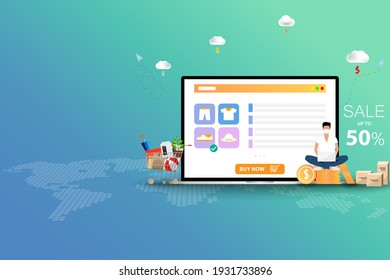 Concept of online shopping, young man wear a face mask and sit on top of coin stack near a big screen of laptop that contain list of products, description and discount rate to order a new shoe.