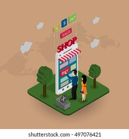 The concept of the online store. People buy the phone on a world map background and different characters. Vector illustration.