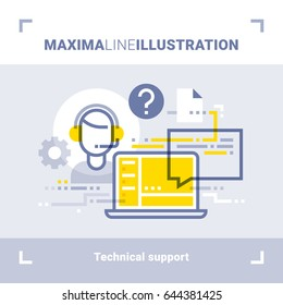 Concept of online tech support and call center. Maxima line illustration. Modern flat design. Vector composition.