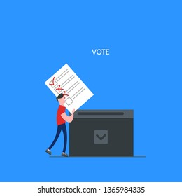 Concept of online voting, elections, voting box with tiny people with decision. Political competition with modern system. White list newsletter on phone screen. Vector illustration with flat design