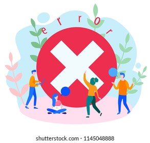 Concept operating system error warning for web page, banner, presentation, social media, documents, posters. 404 error web page Vector illustration, Error warning window operating system