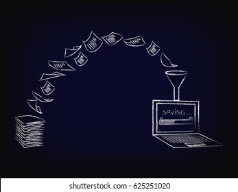 concept of optical character recognition software, pile of paper documents being turned into digital data (laptop with progress bar) vector illustration on mesh background