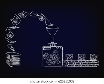 concept of optical character recognition software, pile of paper documents being turned into data blocks through funny factory machine, vector illustration on mesh background