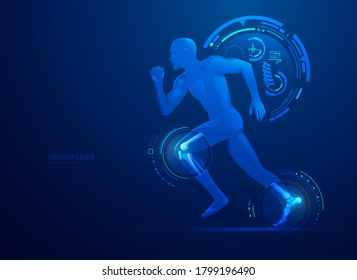 concept of orthopedic medical technology, graphic of a man running with skeleton x-ray scan