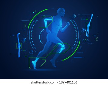 concept of orthopedic technology or bones and joints medical treatment, graphic of running man with x-ray interface