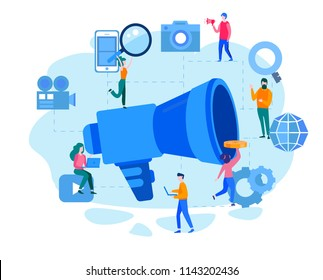 Concept Outbound marketing for web page, banner, presentation, social media, documents, cards, posters. Vector illustration Offline or interruption marketing, permission marketing, digital marketing.