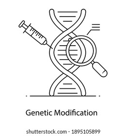Concept outline icon of genetic modification