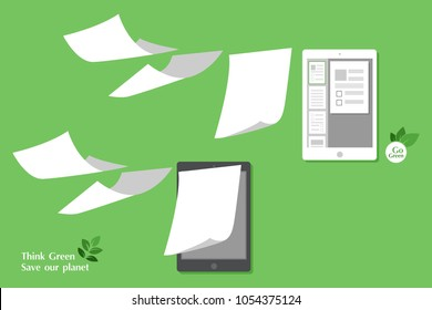 concept of paperless go green, save the planet, earth, trees, leaf, documents turned into digital big data, business device, tablet, screen display, future technology, flat design vector illustration.