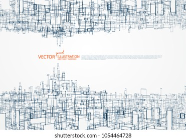 The concept of parallel universe,Virtual city graphic, the design of the virtual space.