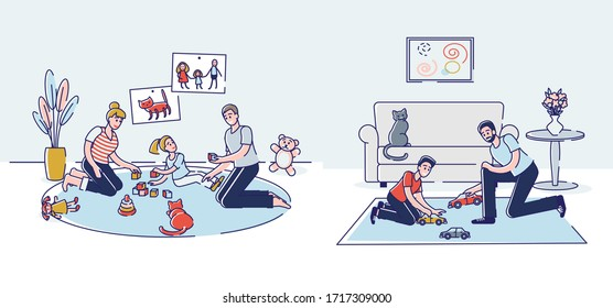 Concept Of Parents Leisure With Children At Home. Male And Female Characters Play Toys With Children Sit On The Floor In Living Room Or Playroom. Cartoon Linear Outline Flat Style Vector Illustration