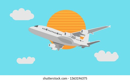 The concept  passenger aircraft flying in the sky, vector illustration