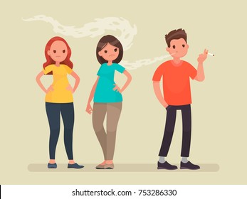 Concept of passive smoking. Discontent non-smoking people. Vector illustration in a flat style