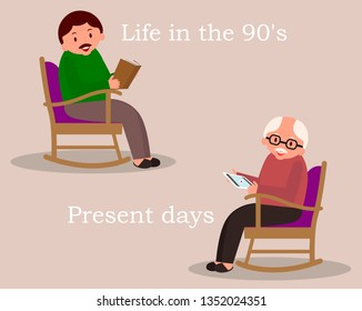 Concept of past and future. Man sitting in rocking chair. Young man reading newspaper. Cute man at home. Senior man checks the news feed on the tablet.Vector illustration.