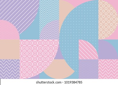 concept pastel color geometric pattern. stock vector illustration. Pale Spring light color palette motif for surface design, cover, wrapping paper, baby projects.