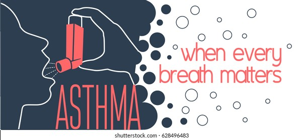 Concept of a patient with bronchial asthma in a linear style. Lung symbol abstract banner, flyer design template.