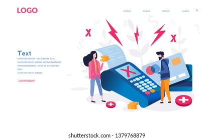 Concept Payment terminals with cross check marks on screen for, social media, documents, posters. Vector illustration confirms reject the payment by debit credit card, money, security. Angry customers