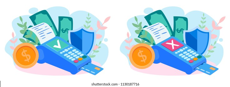 Concept Payment terminals with cross and tick check marks on screen for, social media, documents, posters. Vector illustration confirms reject the payment by debit credit card, money, security.