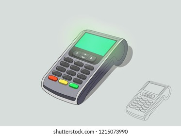 Concept Payment terminals for design social media, documents, posters. Vector illustration flat isometric style. Payment by debit credit card, money, security. Isolated object, line art
