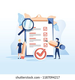 Concept people fill out a form, application form for employment. people select a resume for a job for web page, presentation and social media documents. Vector illustration employee writes a summary