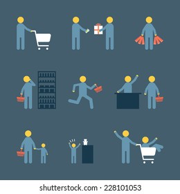 Concept people shopping with object, bags, basket, gift box vector flat icon design