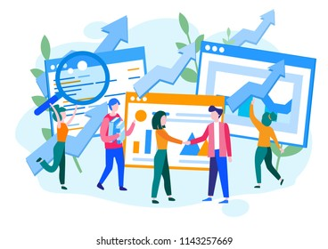 Concept Performance evaluation productive working, success business, growth of teamwork for web page, banner, presentation, social media. Vector illustration quality control, analysis of results