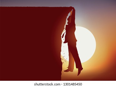 concept of a perilous situation with a man who finds himself suspended above the void while standing at the edge of the cliffs