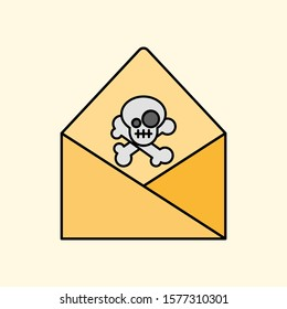 Concept of phishing and malicious email. Outline thin line flat illustration. Isolated on white background.