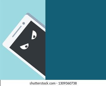 Concept phone spy, smartphone looks, internet scam, online spyware, weak spot gadgets, broken phone, pirate software, viruses, dangerous combinations, vector, illustration