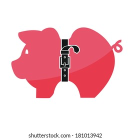 Concept, Pink piggy bank with tight belt isolated on white background,vector illustration.
