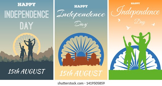 Concept of placard or broadsheet for celebration Independence Day India. Silhouettes of happy Indian family, Ashok Chakra Dharmachakra Wheel of Law, Red Fort (Lal Kila) in Delhi, mountain landscape.