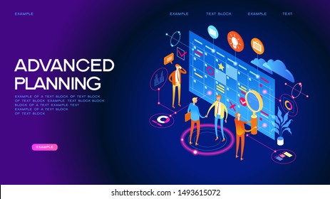 Concept or planner. Management and presentations. People interact with a calendar surrounded by business icons. Web banner. Flat isometric vector illustration.