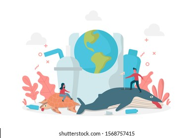 concept of plastics pollution environment effect to marine life with tiny people on whale and turtle, vector flat illustration for web, landing page, ui, banner, editorial, mobile app and flyer.