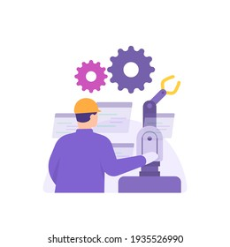 the concept of a PLC programmer, instrumentation technician, electrical, automation engineer. a factory worker repairing or checking a robotic hand or electronic device. flat style. vector design