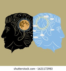 Concept of polarity of human brain and consciousness. Double human profiles with sunny day and starry night with full moon inside. Creative juxtaposition metaphor. Two-faced Janus. Diurnal rhythm.
