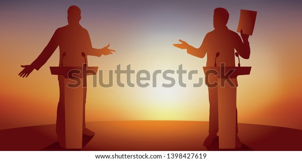 Concept of political debate, with two candidates behind their desks, who are fighting for leadership and conquering power, calling on voters to vote for them.
