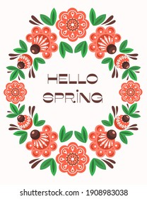 concept postcard Hello Spring. Frame of flowers