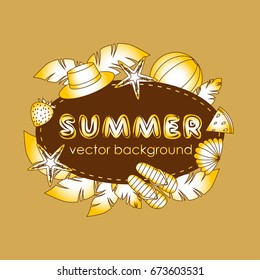 The concept of a postcard on a summer theme with summer attributes. Abstraction, summer, tropical vegetation, starfish. Vector illustration, banner.