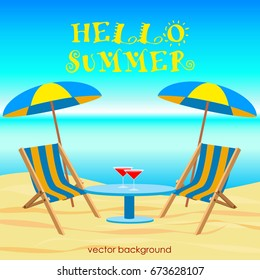 The concept of a postcard on a summer theme with summer attributes.  Beach vacation, sea, umbrella, chaise longue. Vector illustration, banner.